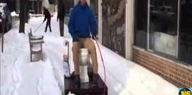 Man Plows Snow on Motorized Toilet