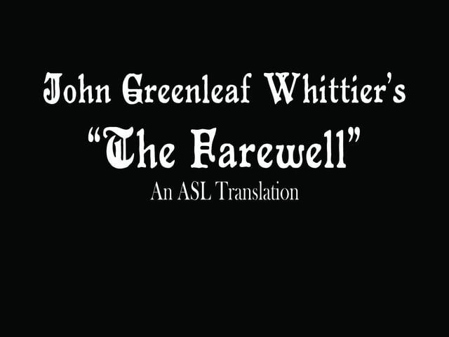 The Farewell by John Greenleaf Whittier
